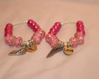 Double Pink Feather and Love Charmed Stretch Beaded Bracelet- Friendship Bracelet