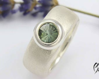 Ring silver frosted with tourmaline, tourmaline ring, wide, blue-green,