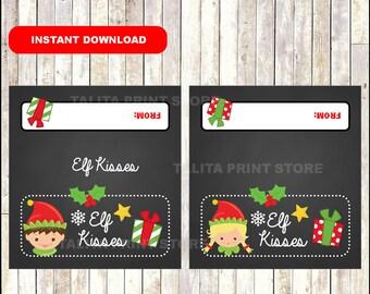 Elf Kisses Christmas Treat Bag Toppers - Gift Tag - Printable - candy - Snack Bag - DIY