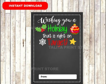 Target Gift Card Holder Christmas - wishing you a holiday - Printable - Instant Download