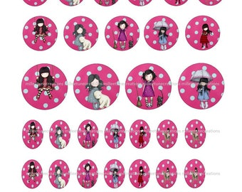 Series 190 - 40 Digital Images girl creations cabochons - sending by e-mail