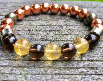 Copper beads with Citrine and Smoky Quartz beads for vitality, protection, and grounding/ Reiki Infused/ 8mm