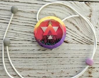 Orange Yellow Purple Pendant, Bright Pendant, Round Pendant, Geometric Pendant, Polymer Сlay Pendant, Resin Pendant, Festival Jewelry
