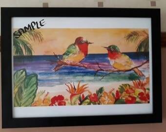 A3 Framed  Caribbean Watercolour Print- Caribbean  love Birds Wall Art Decor Limited Edition
