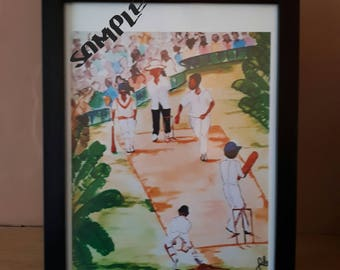 Framed A4 Caribbean Watercolour Print-  Caribbean Cricket Wall Art Decor Limited Edition