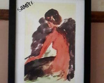Framed A3 Caribbean Watercolour Print-Silhouette Woman. Wall Art Decor, Limited Edition