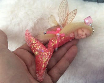 OOAK Polymer Clay Baby Fairy Mermaid - Handmade by Sue Radford