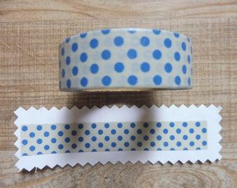 Washi tape 1.5 cm 10 m blue polka dots pattern