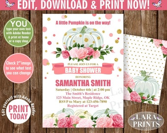 INSTANT DOWNLOAD / edit yourself now / Pumpkin / Baby shower / invitation / invite / fall / pink / gold / floral / flowers / girl /BPumpkin1