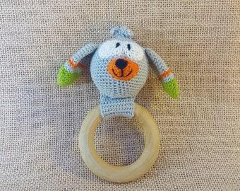 Doggy rattle teether, crochet rattle, crochet toy rattle, dog rattle toy, dog toy rattle, animal baby rattle, crochet dog, doggie rattle