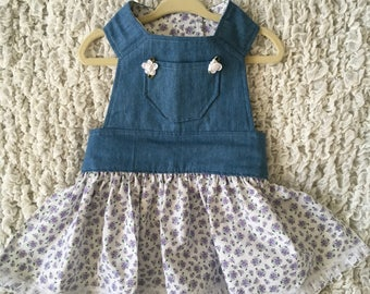 Denim Divalicious -Pet Dress -Made to Order- One of a Kind Piece