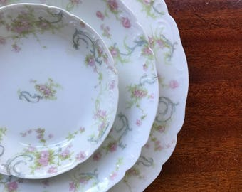Shabby Chic Vintage Antique Dinner Plate and Bowls - Haviland & Co Limoges France - Pink Flowers - Food Photography Prop