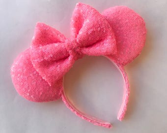 Neon Pink Minnie Mouse Ears
