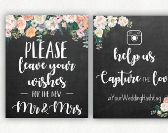 INSTANT DOWNLOAD, Custom Floral Chalkboard Black Grey Gray, Wedding Wishes for the Mr & Mrs Capture the Love Instagram Hashtag, Photo 8x10