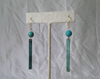 Turquoise bead and verdigris bar earrings