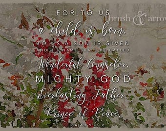 Christmas Bible Quote, Isaiah 9:6, Red Berries in Snow, watercolor style, instant digital download