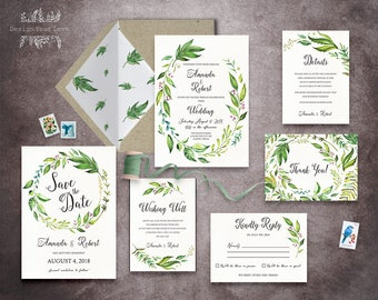 green wedding invitation set printable wedding invitation suite greenery leafy invitation watercolor floral garden wedding invitation - Printable Wedding Invitation Kits