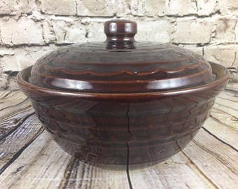 Vintage Brown Marcrest Daisy Dot Ovenproof Stoneware Covered Casserole Bean Pot