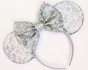 The Full Sequin (Holographic Silver) - Handmade Sequin Mouse Ears Headband