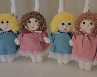 SALE Vintage Fabric Doll Ornaments, Pocket Dolls, Dolls for Crafting