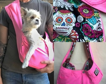 Bullshitz Doggie Bagz: Bubblegum Pink Denim with Sugar Skulls