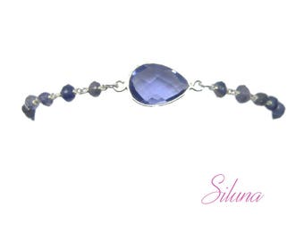 Iolite bracelet and 925 sterling silver: chain, rosary and gemstones