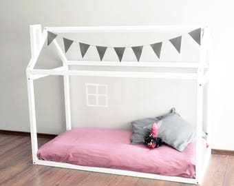 full size house bed floor montessori bed frame baby bed modern house unique bed - Unique Bed Frames