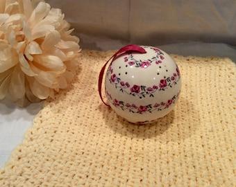 Andre Richard rose porcelain pomander/essential oil holder