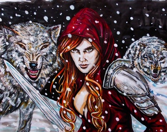 illustration on the theme of little Red Riding Hood