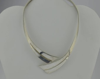 Sterling Silver 950 Mid Century Modern Heavy Hinged Choker Necklace 93.6 Grams