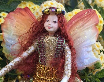 "Fae Folk® Fairies - TOPAZ - Jewel Fairy. Bendable, posable 5"" soft doll can sit, stand, or hang."