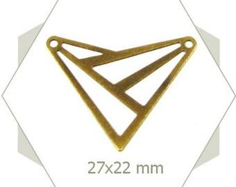 8 triangles bronze openwork pattern BB145 connectors