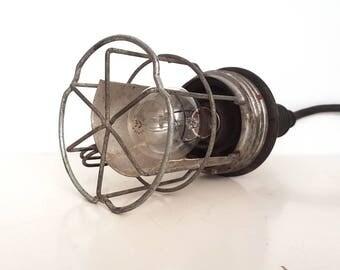 Vintage retro industrial black cage lamp, 1960s