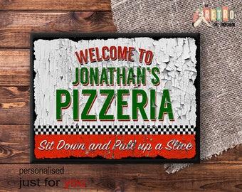 Custom Pizzeria Sign, Retro Plaque, Metal Wall Sign, Retro Style, Kitchen Sign, Personalised Pizza, Retro Kitchen Decor, Pizza lover