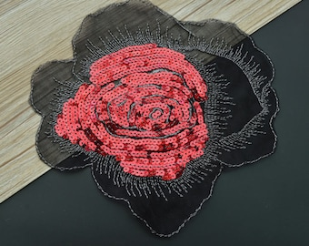 Glitter red flower patches patch applique for sew 22cm x 20 cm