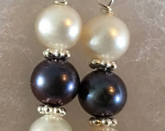 White and Black 6mm Freshwater Pearl Earrings on Sterling Silver