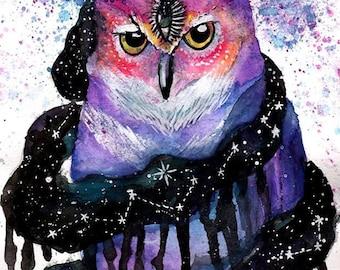 Space Owl Third Eye Original Water Color Painting 9X12