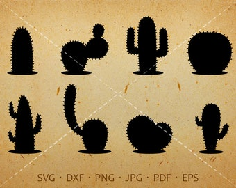Cactus SVG, Cactus Clipart, Desert Clipart  Silhouette Cricut Cut Files Commercial and Personal Use
