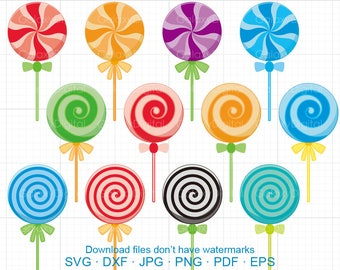 Lollipop Clipart SVG, Sweets Candy Clipart SVG DXF Silhouette Cricut Cut Files Commercial use