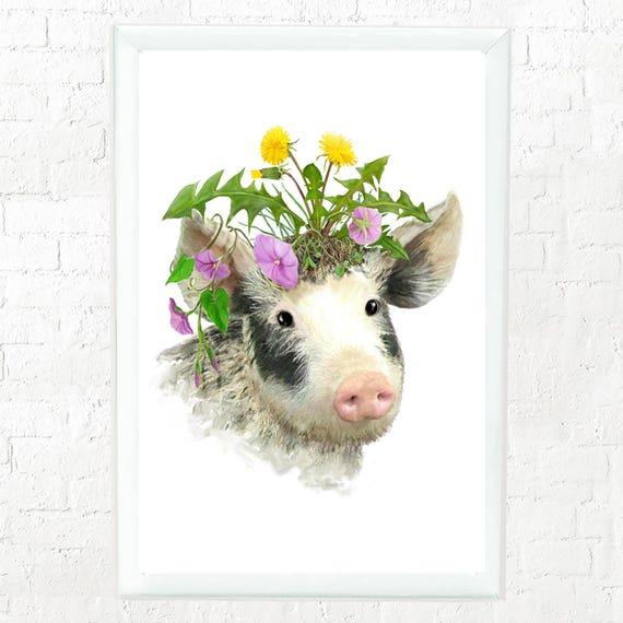 Piglet with flowers print, kid's farm animal wall art, baby pig, nursery wall art, baby animal art, kids wall art, art for kids walls,piglet