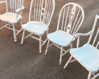 Mismatched Farmhouse Dining Chairs - Set of Four Chairs with Two Captain's Chairs