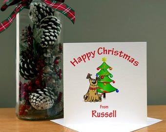Personalised Christmas Card From Dog/Cat/Both - Xmas Card - Christmas Wife/Husband - Christmas Family - Christmas Pets - Funny Cartoon Card