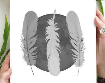 Printable Moon and Feathers Illustration Wall Art Home Decor Grey Feather Trio Digital Download