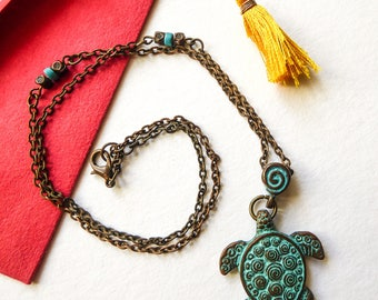 Tribal turtle necklace