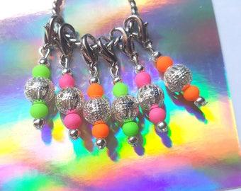 6pcs Neon stitch markers, Beaded stitch markers, Knitting stitch markers, Crochet stitch markers, Stitch markers, Neon, Knitting, Crochet