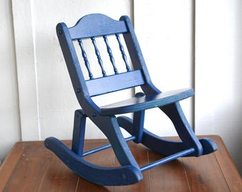 Childu0027s Rocking Chair, Vintage, Folding, Wood, Blue, Small, Kids Furniture