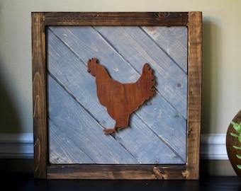 Chicken Wood Wall Art, Rustic Wooden Artwork, Farm Nursery Art, Rustic Kitchen, Barnyard Nursery, Wood Wall Hanging, Farmhouse Kitchen