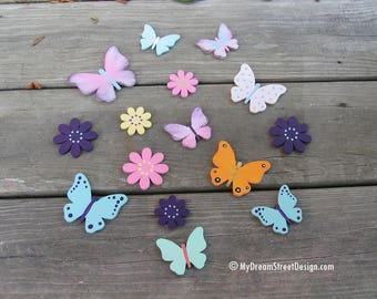 Custom Wood Letters, Painted Wall Letters, Wooden Wall Letters, Letters, Baby Girl Nursery, Butterflies and Flowers