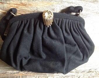 Vintage Black Pouch Purse vintage/purse/evening bag/wedding/bridal /special occasion