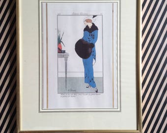 four decorative art deco style fashion prints, vintage, framed, Art Deco fashion, vintage reproductions, framed and ready, dressing room